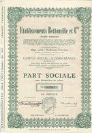 Titre Ancien - Etablissements Bettonville Et Cie -Société Anonyme - Titre De 1951 - - Textile