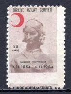 1954 TURKEY PRINTING ERROR - CENTENARY OF THE VISIT OF FLORENCE NIGHTINGALE MNH ** - Timbres De Bienfaisance