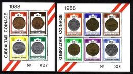GIBRALTAR BLOCK 13-14 POSTFRISCH(MINT) NEUE MÜNZEN 1989 - Gibraltar