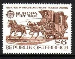 ÖSTERREICH MI-NR. 1713 POSTFRISCH(MINT) EUROPA 1982 PFERDEEISENBAHN HISTORISCHE EREIGNISSE - Caballos