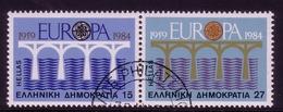 GRIECHENLAND MI-NR. 1555-1556 O ZUSAMMENDRUCK EUROPA 1984 - BRÜCKE - Europa-CEPT