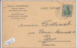 MALMEDY- CHARLES STEINBACH- PEAUX DE CHAMOIS- RECT/VERSO- TARIF 1908 - Eupen Und Malmedy