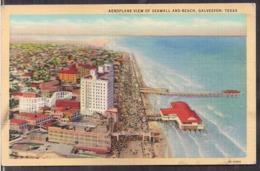 C. Postale - Aeroplane View Of Seawall And Beach - Circa 1950 - Non Circulee - A1RR2 - Galveston