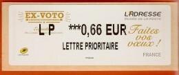 VIGNETTE LISA 2 - 2014 - EX-VOTO - L'ADRESSE - MENTION 0,66 EUR LETTRE PRIORITAIRE - NEUF - 2010-... Illustrated Franking Labels