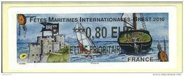 VIGNETTE LISA 2 - 2016 - FETES MARITIMES INTERNATIONALES - BREST - MENTION LETTRE PRIORITAIRE 0.80 EUR - NEUF - 2010-... Illustrated Franking Labels