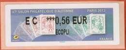 VIGNETTE LISA 2 - SALON PHILATELIQUE D'AUTOMNE - MARIANNES - PARIS 2013  - MENTION 0,56 EUR ECOPLI - NEUF - 2010-... Illustrated Franking Labels