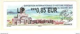 VIGNETTE LISA 2 - 2017 - EXPOSITION INTERNATIONALE D'HISTOIRE POSTALE - ISSOIRE - MENTION LP 0.85 EUR - NEUF - 2010-... Illustrated Franking Labels