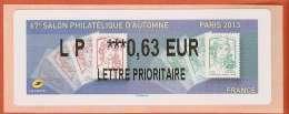 VIGNETTE LISA 2 - SALON PHILATELIQUE D'AUTOMNE - MARIANNES - PARIS 2013  - MENTION 0,63 EUR LETTRE PRIORITAIRE - NEUF - 2010-... Illustrated Franking Labels