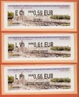VIGNETTE LISA 2 - SALON TIMBRES PARIS 2014 - INSTITUT DE FRANCE - LOT DE 3 VALEURS AVEC MENTIONS 0.59  0.61  0.66 - NEUF - 2010-... Illustrated Franking Labels
