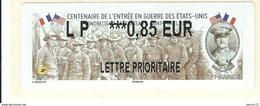 VIGNETTE LISA 2 - 2017 - CENTENAIRE DE L'ENTREE EN GUERRE DES ETATS-UNIS - MENTION LP 0.85 EUR - NEUF - 2010-... Illustrated Franking Labels