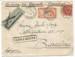 MERSON 2FR+ 50C FACCHI LETTRE AVION SOSPEL ALPES MARITIMES 30.3.1931 TO BARCELONA + GRIFFE AVION PARTI - Indochina (1889-1945)