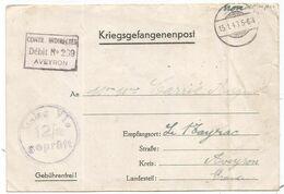 FORMULE STALAG ENVOI AUX PRISONNIERS DE GUERRE COLIS POSTAUX 15.1.1943 + DEBIT N°239 AVEYRON - Guerre De 1939-45