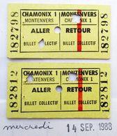 2 TICKETS 1988 HAUTE SAVOIE GARE CHAMONIX MONT BLANC MONTENVERS ALLER RETOUR MER DE GLACE LES GRANDES JORASSES LE DRU - Chemins De Fer