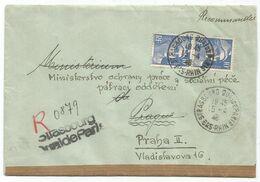 GANDON 10FR BLEU N°723 PAIRE LETTRE REC PROVISOIRE STRASBOURG 15.4.1946 POUR MINISTERE A PRAGUE + BANDE - 1945-54 Marianne De Gandon
