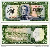URUGUAY 0.50 NUEVO PESO ON 500 PESOS ND (1975) P 54 UNC - Uruguay