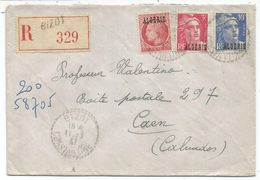 GANDON 10FR BLEU ALGERIE +FR+ 1FR MAZELIN ALGERIE LETTRE REC C. PERLE BIZOT 11.3.47 CONSTANTINE - 1945-54 Marianne (Gandon)