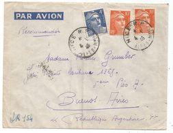 GANDON 10FR ORANGEX2+4FR BLEU LETTRE AVION REC PROVISOIRE NICE RP 4.1.1946 POUR ARGENTINE AU TARIF - 1945-54 Marianne De Gandon