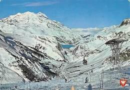 France Val D'Isere La Station Le Telepherique Lac Du Chevril Mont Purri Skiers - Frankreich