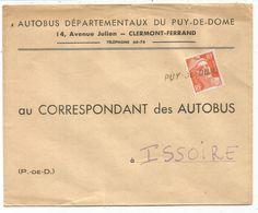 GANDON 10FR ORANGE SEUL LETTRE ANNULATION GRIFFE PUY DE DOME POUR ISSOIRE - 1945-54 Marianne (Gandon)