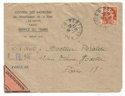 GANDON 10FR ORANGE SEUL LETTRE REC PROVISOIRE PARIS 25 .25.2.1946 CONTRE REMBOURSEMENT POUR PARIS AU TARIF - 1945-54 Marianne De Gandon