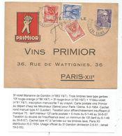 GANDON 5FR VIOLET SEUL CARTE ISSY LES MOULINEAUX 1954 POUR PARIS TAXE 1FR+3FR+10FR - 1945-54 Marianne De Gandon