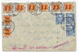 GANDON 15FR BLEUX3+ BLASON 1FR X8 LETTRE AVION COURBEVOIE 12.4.1952 POUR USA AFF INSUF VOIE MARITIME - 1941-66 Armoiries Et Blasons