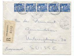 GANDON 15FR BLEU BANDE DE 5 LETTRE REC LYON BRITTEAUX 1955  POUR SUISSE AU TARIF - 1945-54 Marianne De Gandon