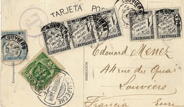 1906 -C P A De Campeche ( Mexique ) Estacion De F.C. Peninsular Affr. 2 C TAXEE 10 C ( 5 C + 5 X 1 C - Strafportbrieven