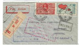 MADAGASCAR PA 2FR+15C LETTRE REC AVION TANANARIVE 7.7.1938 POUR SAINT DENIS REUNION + VOYAGE ETUDE EN ROUGE - Poststempel (Briefe)