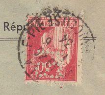 ESC S. Lyonnaise Des Dépots Agence D'Avignon Vaucluse 50c Paix Perforé Perfin S.L. Avignon 1934 - Poststempel (Briefe)