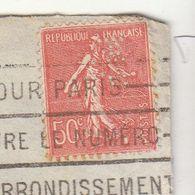 ESC De La SMC (barrée Au Verso) 50c Semeuse Perforé Perfin SM OMEC Paris 96 1929 (2 Scans) - Poststempel (Briefe)