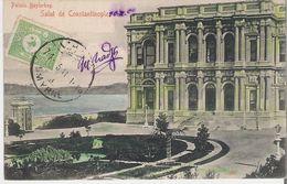 TURQUIE - CONSTANTINOPLE. CPA Palais Beylerbey Cachet Dette Publique Ottomane Smyrne - Turkey