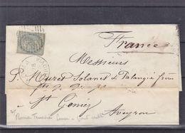 Italie - Lettre De 1878 - Oblit Roma - Exp Vers St Geniez - Cachets De Millau Et Cette à Bordeaux - 1861-78 Victor Emmanuel II