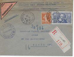 Lettre Recommandée Contre Remboursement PROVINS à PARIS 1937 Affranchissement 1,50 F Jaurès Et 25 C Semeuse - Postmark Collection (Covers)