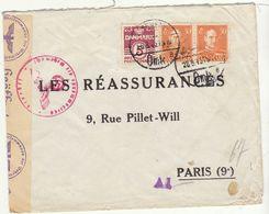 ESC 65 öre  Cad  Copenhague -> Paris France Censure Allemande 1943 - Lettere