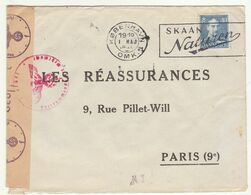 ESC 40 öre OMEC Copenhague -> Paris France Censure Allemande 1942 - Lettere