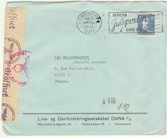 ESC 40 öre OMEC Copenhague -> Paris France Censure Allemande 1943 - Lettere
