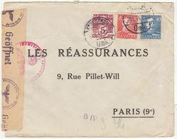 ESC 65 öre Cad Copenhague -> Paris France Censure Allemande 1944 - Lettere