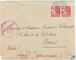 ESC 40 öre OMEC Copenhague + Vignette -> Nevers France Censure Allemande 1941 (2 Scans) - Lettere