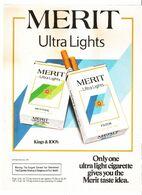 MERIT ULTRA LIGHTS  PUBBLICITA' ORIGINALE PICTURE OF VINTAGE PAPER SIGARETTE - Articoli Pubblicitari