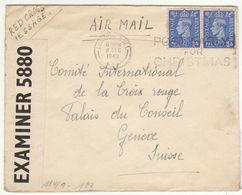 ESC/avion  5p OMEC London1943 -> Croix Rouge Suisse, Censure Anglaise Et Allemande (2 Scans) - Storia Postale