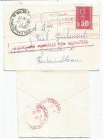 BEQUET 50C SEUL MIGNONNETTE SECAP ROUGE RECHERCHES LIBOURNE 1974 + DIMMENSIONS MINIMALES NON REPECTEES - 1971-76 Marianne (Béquet)