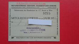 MITGLIEDSAUSWEIS.REFORMVERBAND OESTERR.HAUSBESITZER-VEREINE.Wien - Wetten & Decreten