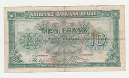 Used Banknote Belgie-belgique 10 Frank 2 Belgas 1943 - [ 2] 1831-... : Koninkrijk België