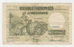 Used Banknote Belgie-belgique 50 Frank 10 Belgas 1945 - [ 3] Duitse Bezetting Van België