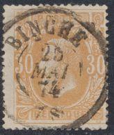 """émission 1869 - N°33 Obl Double Cercle """"Binche"""". Superbe / Collection Spécialisée - 1869-1883 Leopoldo II"""