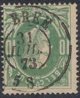 """émission 1869 - N°30 Obl Double Cercle """"Brée"""". Superbe/ Collection Spécialisée - 1869-1883 Leopoldo II"""