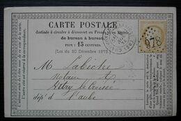 Chaumont-en-Bassigny 1874 GC 978 Haute Marne Sur Carte Précurseur Pour Vitry Le Croisé Aube Cad De Chervey à L'arrière - 1849-1876: Période Classique