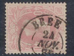 """émission 1869 - N°34 Obl Double Cercle """"Brée"""". TB / Collection Spécialisée - 1869-1883 Leopoldo II"""