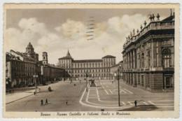 C.P.  PICCOLA    TORINO   PIAZZA  CASTELLO  E  PALAZZI  REALE  E  MADAMA       2  SCAN  (VIAGGIATA) - Places